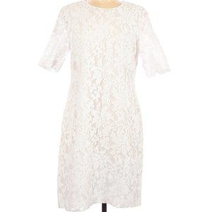 W by Worth White Embroidered Overlay Dress